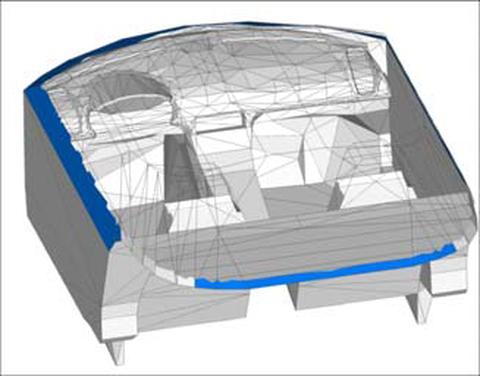 Abb. 2: Modell der Fahrzeugkabine im Simulationsprogramm TRNSYS-TUD