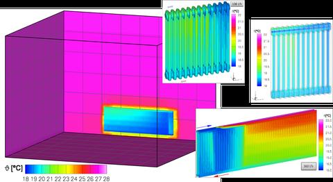 Darstellung unterschiedlicher Heizkörpertypen im Kühlfall