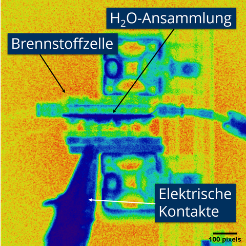 Neutronenradiographie einer Brennstoffzelle
