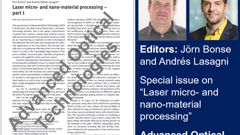 Special issue on Laser micro- and nano-material processing