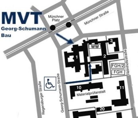Zugang und Zufahrt zum Georg-Schumann-Bau