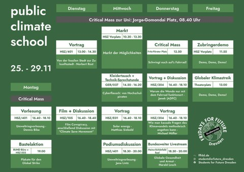 Stundenplan zur Publice Climate School Woche an der TU Dresden