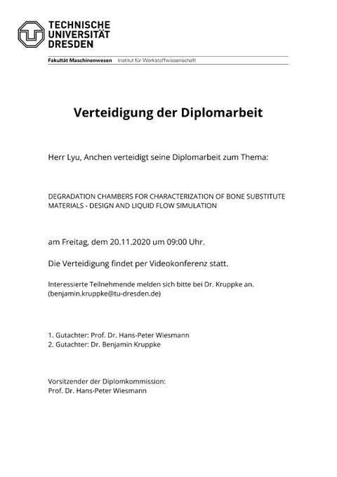 Aushang Diplomverteidigung Lyu Anchen
