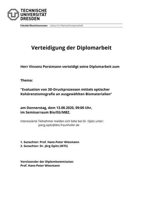 Ankündigung Diplomverteidigung Porstmann