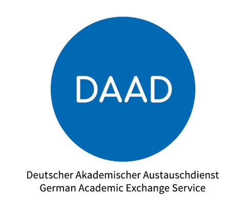DAAD Logo - blauer Kreis mit weißer Schrift DAAD