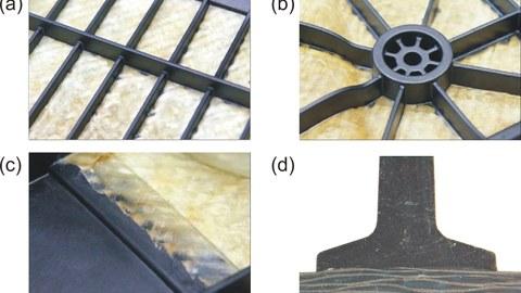 Lokal funktionalisierte Organobleche: Kreuzrippenmuster (a), Lasteinleitungszone (b), umsäumter Randbereich einer Textilverstärkung (c), Versteifungsrippe mit ausgeprägtem Rippenfuß im Schliffbild (d)