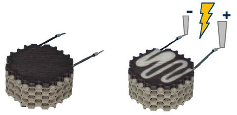 3D-gedruckter Multi-Material-Leichtbaudemonstrator aus kohlenstofffaserverstärktem thermochromem Kunststoff und Titan-Grundstruktur (links) und Darstellung des thermochromen Verhaltens, aktiviert durch elektrisch induzierte Wärme in der Kohlenstofffaser (rechts)