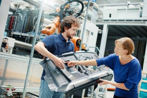 Der Anteil von Recyclingmaterial liegt bei dem entwickelten ReLei-Demonstrator insgesamt bei circa 80 Prozent. Bildnachweis: Andreas Scheunert
