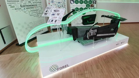 FOREL-MockUp mit Technologie-Demonstratoren aus sieben Projekten.