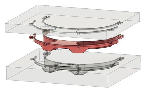 Das Bauteil wird im Spritzgießverfahren hergestellt und kann damit in einer deutlich höheren Stückzahl produziert werdenals bei bisher vergleichbaren 3D-gedruckten Lösungen.
