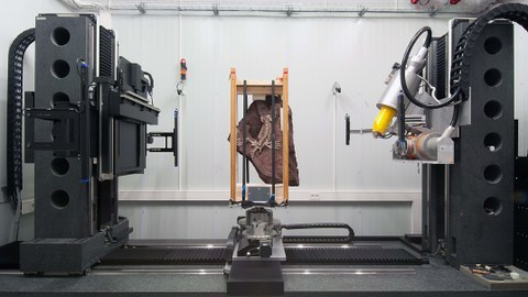 Aufnahme eines Computertomographen in dem ein versteinerts Skelett einer Urechse eingespannt ist.