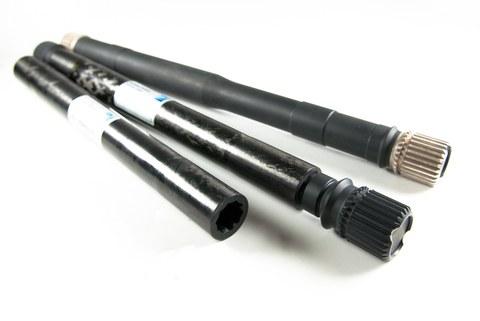 Aufnahme von drei Faserverbund-Radialwellen für den Antrieb von Nebenaggregaten im Triebwerk.