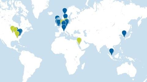 Weltkarte mit verzeichneten Forschungsstandorten.