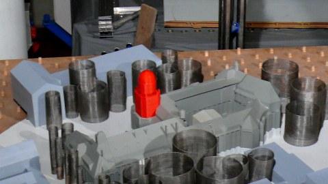 Modell-Beyer-Bau im Windkanal