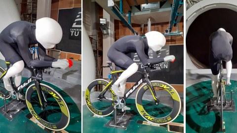 Puppe eines Radfahrers für Windkanaltests von Wettkampfbekleidung
