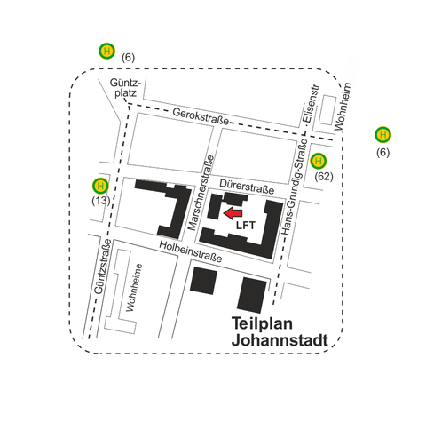 Lage des Institutsgebäudes im Campus Johannstadt