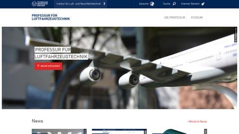 Screenshot der Webseite der Professur für Luftfahrzeugtechnik