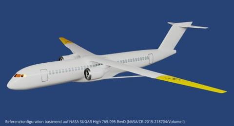 Aktiv morphender Flügel an der Referenzkonfiguration, basierend auf NASA SUGAR High 765-095-RevD