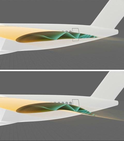 Innenstruktur des aktiv morphenden Flügels im unverformten Zustand (oben) und verformten Zustand (unten)