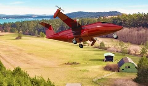 Das Flugzeugkonzept Xargo beim Start unter Ausnutzung der schwenkbaren Außenpropeller