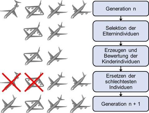 Ablauf der Evolutionären Optimierung am Beispiel eines Flugzeugs
