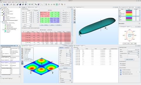 Screenshot des Laminatberechnungsprogramms eLamX