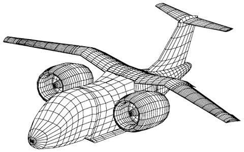 Für 3D-Panelmethode vernetzte Flugzeuggeometrie