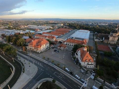 Messe Dresden aus der Vogelperspektive