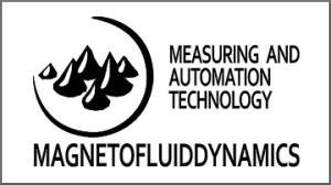 Logo der Professur MFD (Ferrofluidtropfen und Text)