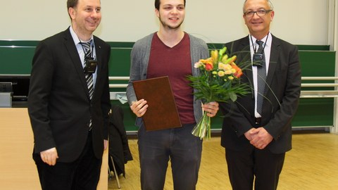 Verleihung Teekannepreis 2016, Prof Wallmersperger, Preisträger Gustav Tschirschnitz und Prof. Majschak