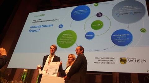 vlnr: Marcus Stein (watttron GmbH), Marina Heilmann (futureSAX), Dr. Stephan Meyer (Mitglied des sächs. Landtages, CDU)