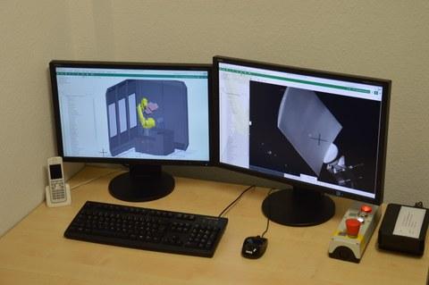 Virtueller Messraum und Kameraabbild