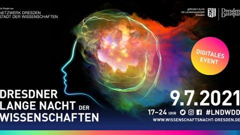Bild: Grafik zur Ankündigung der digitalen Langen Nacht der Wissenschaften