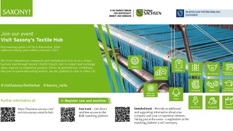 Flyer mit Informationen zum Projekt Saxony´s Textil Hub