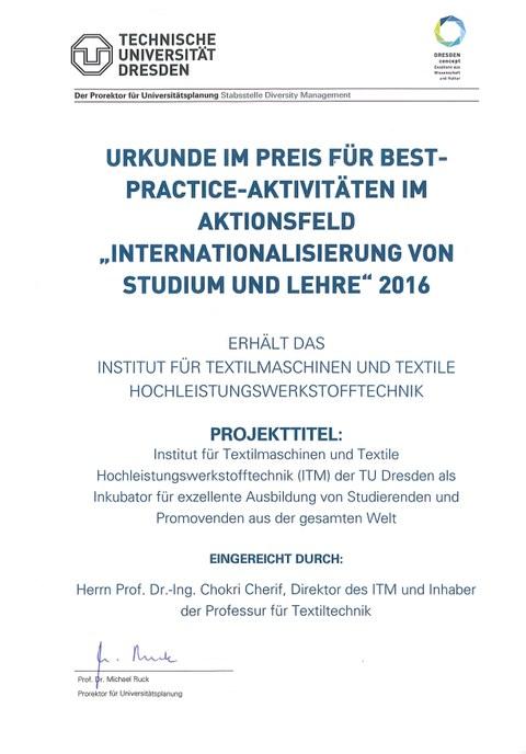 Urkunde Preis Internationalisierung