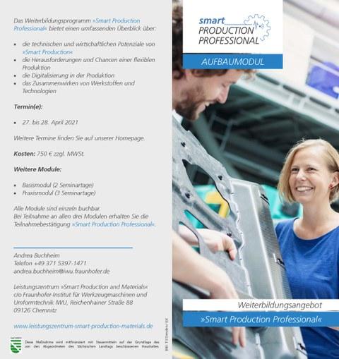 """Flyer mit Informationen zum Weiterbildungsangebot """"Smart Production Professional"""""""