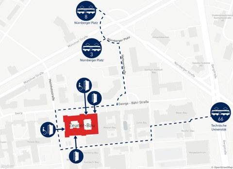 Die Grafik zeigt einen Ausschnitt des Stadtplans, mit dem Zeuner-Bau, mit benachbarten Straßen und öffentlichen Verkehrsmitteln. Der Zeuner-Bau ist rot hervorgehoben und alle 4 Eingänge (davon 2 barrierefrei) sind in den Plan eingezeichnet.