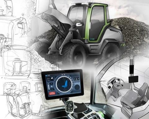 """Die Collage zeigt die Bearbeitungsschwerpunkte der Juniorprofessur für Technisches Design bei der """"Genius Cab"""": Gesamtkonzept der Radlader-Kabine (oben und links), Interieur (rechts unten), Touchscreen zur Steuerung der Maschinen- und Kabinenparameter (unten Mitte)"""