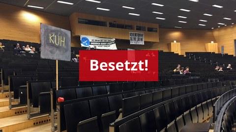 Das Foto zeigt den den besetzten Audimax der TU Dresden am 26. November 2019.