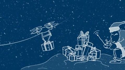 Die Grafik zeigt den Weihnachtsmann, der eine Drohne steuert. In der Mitte liegen viele Geschenke auf einem Haufen. Die Grafik ist als weiße Strichzeichnung auf dunkelblauem Hintergrund realisiert. Es schneit.