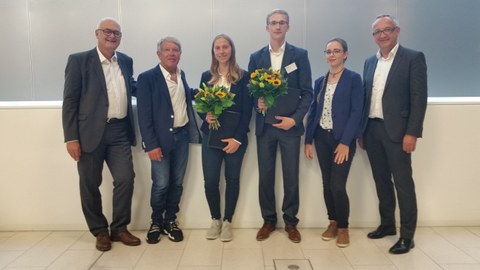 Das Foto zeigt von links nach rechts Richard Clemens, Dr. Ralf-Otto Hänsel, Thurid Dietzel, Dipl.-Ing. Ludwig Schmidtchen, Ronja Bittner, Prof. Dr.-Ing. Jens-Peter Majschak.