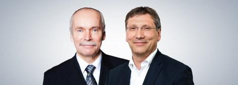 Das Foto zeigt Portraitfotos von zwei älteren Männern. Links sieht man Prof. Stelzer, den bisherigen Dekan. Rechts neben ihm ist Prof. Beckmann platziert, der am 15. Januar 2020 zum Dekan gewählt wurde.