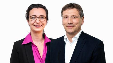 Das Foto zeigt eine Bildmontage. Die beiden Portraits von Prof. Michael Beckmann und Ina Winkler sind nebeneinander gesetzt und überlagern sich leicht.
