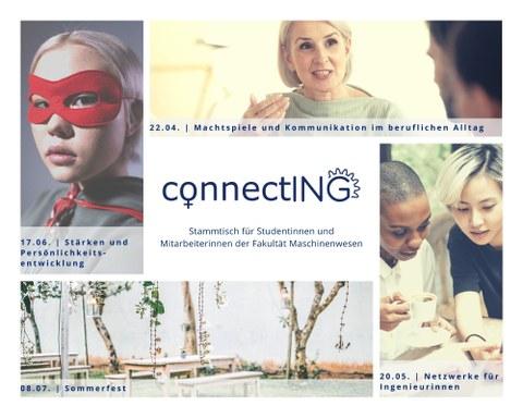 Auf dem Bild ist ein Werbebaner des ConnectING-Stammtisches zu sehen