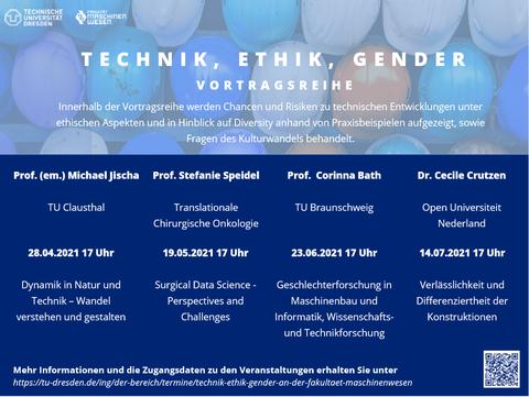 Auf dem Bild ist die Veranstaltungsposter zu Technik, Ethik, Gender zu sehen