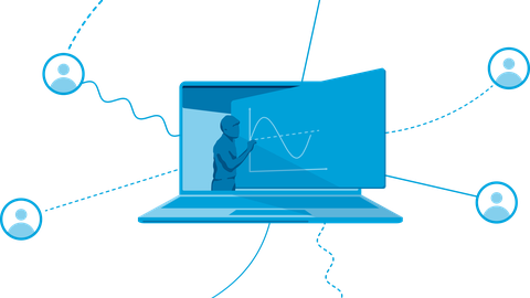 Auf dem Bild ist eine Illustration zu sehen, welche die Vernetzung beim E-Learning darstellen soll