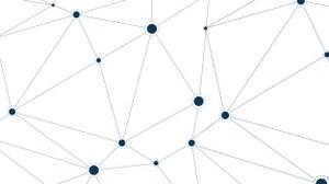 Grafik:  es ist ein Ausschnitt eines ungeordneten Netzwerkes dargestellt. Die Knoten sind unterschiedlich groß dargestellt und Verbindungen zu den benachbarten Knoten sind eingezeichnet.