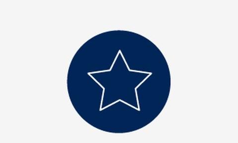 Grafik: in einem blauen Kreis ist der Umriss eines weißen Sterns zu sehen