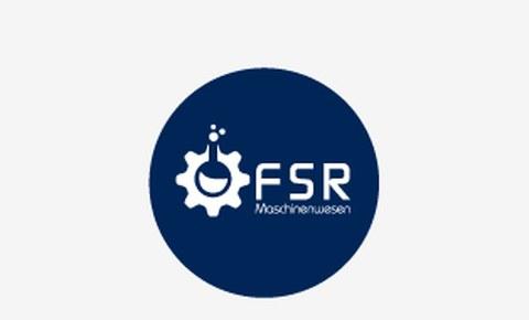 Grafik:  in einem blauen Kreis ist in weiß das Logo des Fakultätsrates Maschinenwesen zu sehen.  Links ein Zahnrad, das oben geöffnet ist mit 3 Punkten darüber und einer kleinen Fläche im Zahnrad. Rechts daneben steht FSR und darunter Maschinenwesen.