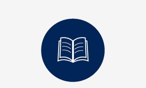 Grafik: in einem blauen Kreis ist ein weißes aufgeschlagenes Buch zu sehen.